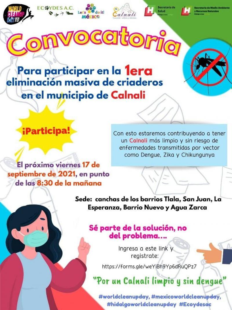 """Este 17 de septiembre, participa como voluntario en la campaña """"Por un Calnali Limpio y Sin Den"""